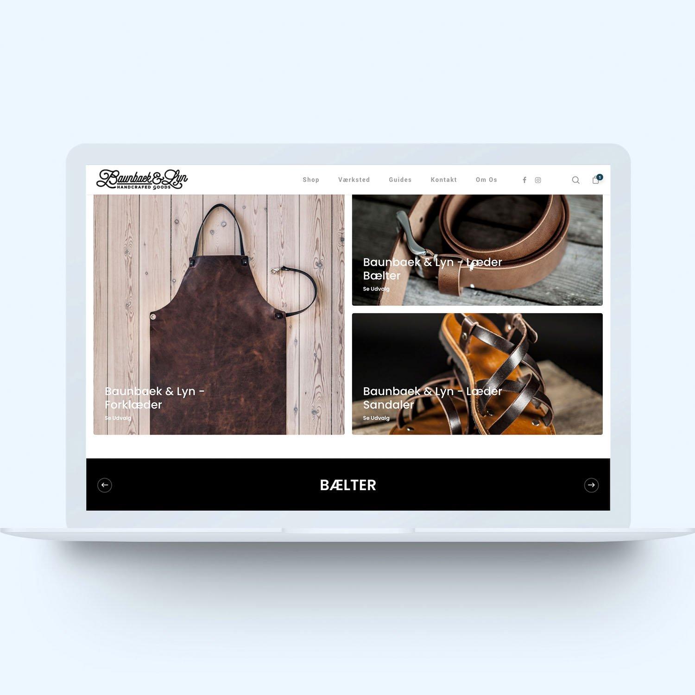 Screenshot af shop hos Baunbaek & Lyn lavet af onlineeftersyn.dk