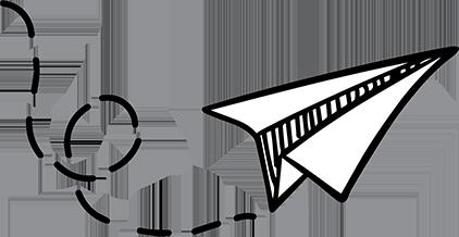 Papirsflyver som symbol for send en besked til onlineeftersyn.dk